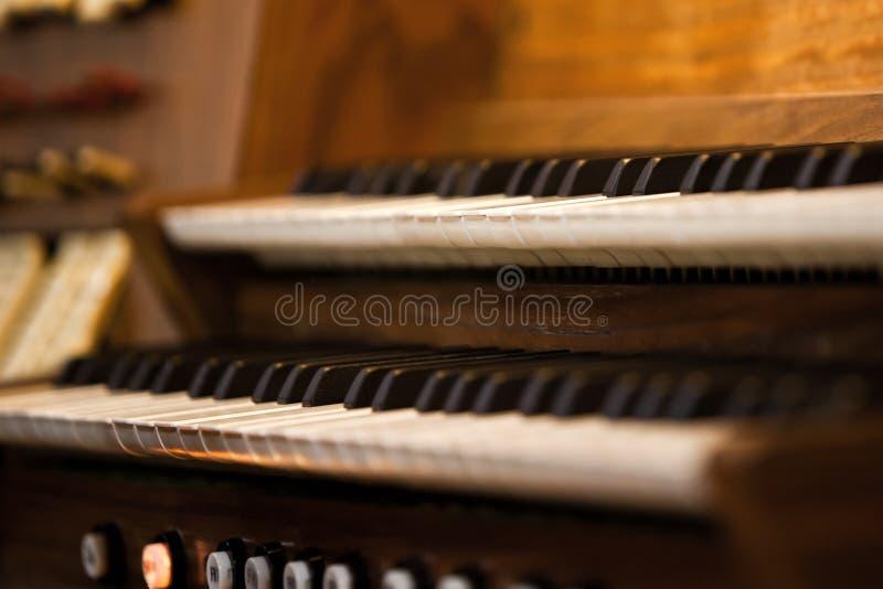 Church organ keyboard stock photography