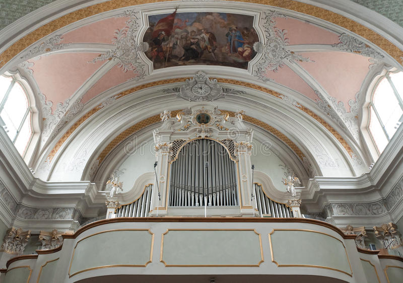 Church Organs And Fresco. Organs and ceiling fresco in church in Cortina D'Ampezzo, Italy royalty free stock images