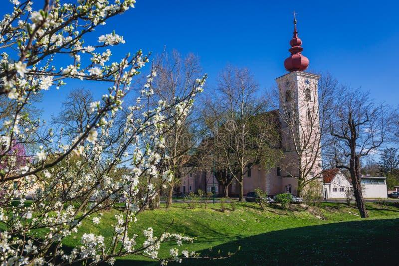 Church in Orth an der Donau. In the Austrian state of Lower Austria stock photos