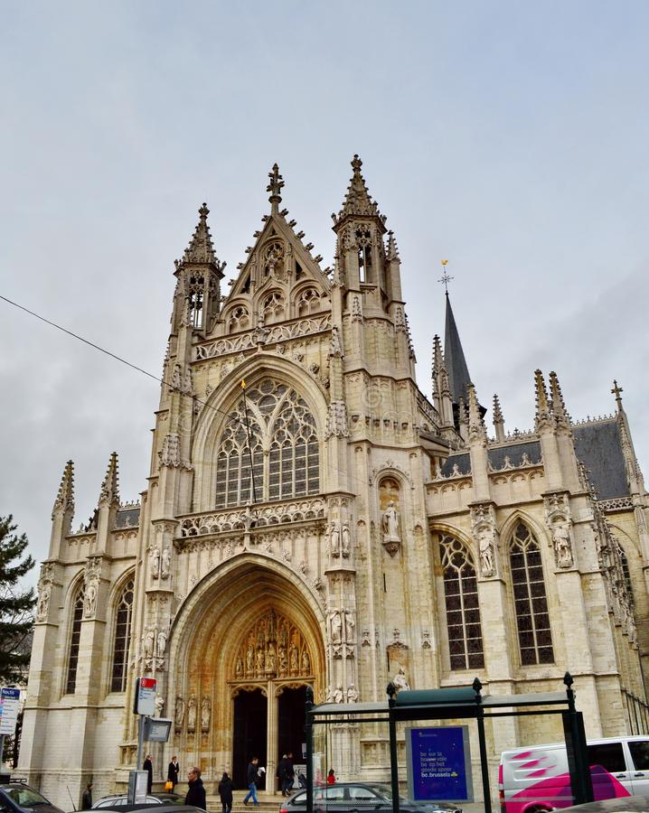 Church of Our Blessed Lady of the Sablon in Brussels, Belgium stock images