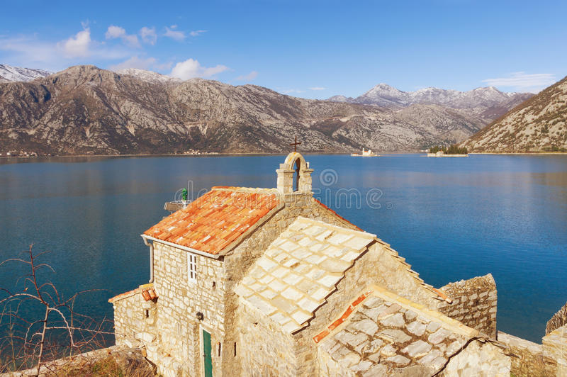 Church of Our Lady of the Angels on the coast of the Bay of Kotor. Montenegro stock image