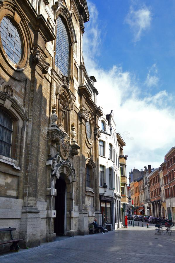 The Church of Our Lady of Assistance Notre-Dame de Bon Secours, Brussels, Belgium royalty free stock images