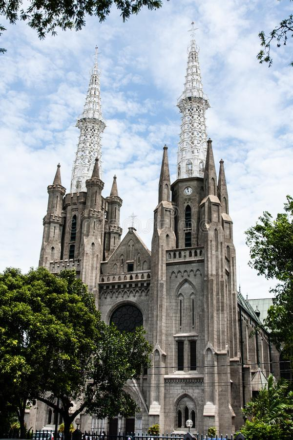 The Church of Our Lady of Assumption, Jakarta, Indonesien royaltyfria foton