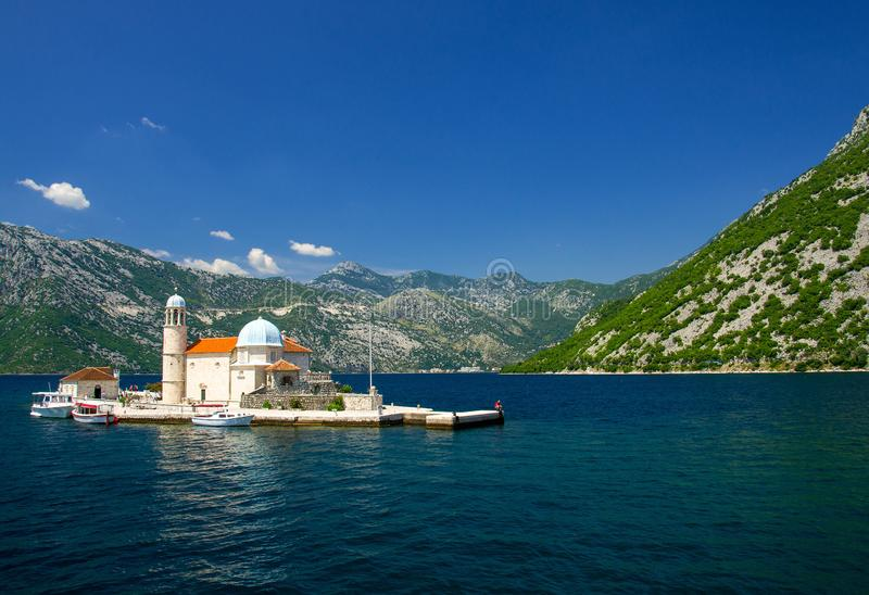 Church Our Lady of Rocks on island in Boka Kotor bay, Montenegro royalty free stock image