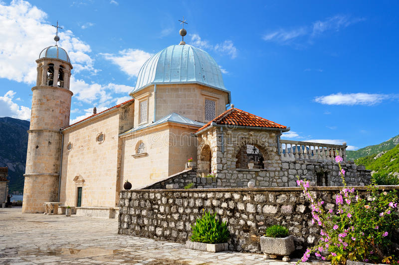 Church of Our Lady of the Rocks on island in Kotor Bay, Montenegro stock photography