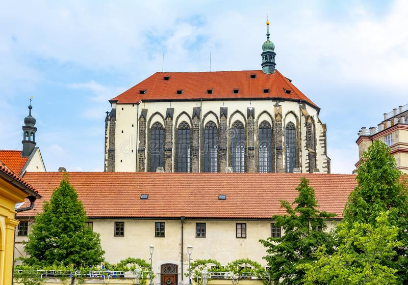 Church of Our Lady of the Snows in Franciscan Garden in Prague, Czech Republic royalty free stock image