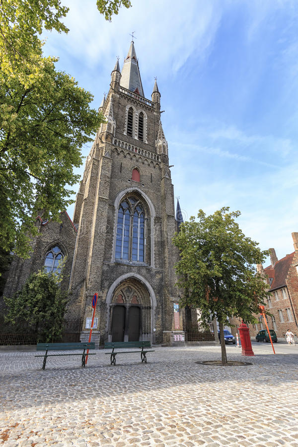 Church of our lady at sunset, Bruges - Belgium royalty free stock image