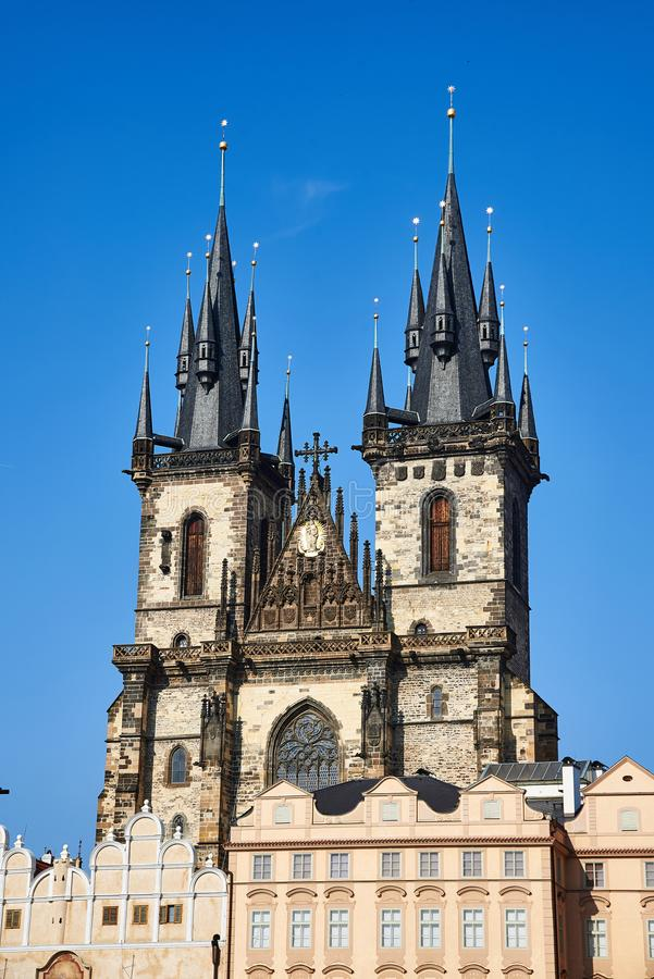 Church of Our Lady before Týn, Prague, Czech Republic. The Old Town Square in Prague Staroměstské náměstí, Czech republic. This historic town royalty free stock images