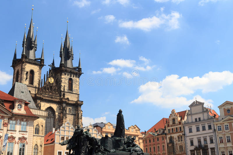 Church of Our Lady before Tyn, Old Town Square and Jan Hus Memorial in Prague royalty free stock images