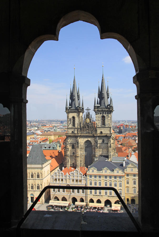 Church of Our Lady before Tyn, Prague, Czech Republic. View from Old Town Hall Tower royalty free stock photography