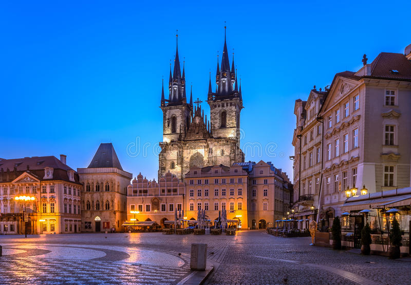 Church of Our Lady of Tyn, Prague-before sunrise royalty free stock photos
