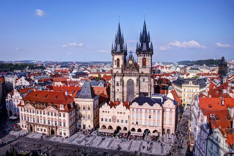 Church of our lady before Tyn from tower royalty free stock image