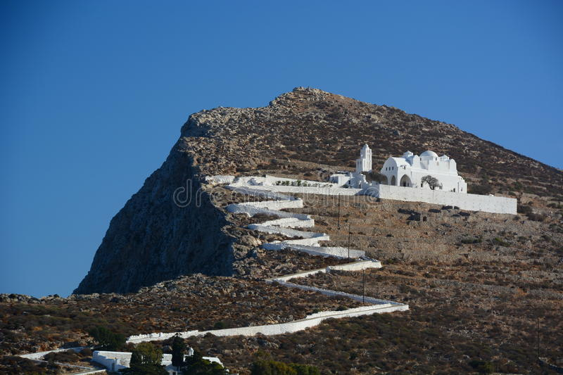 The church of Panagia. Chora, Folegandros. Cyclades islands. Greece. Folegandros Pholegandros is a small Greek island in the Aegean Sea which, together with stock photos