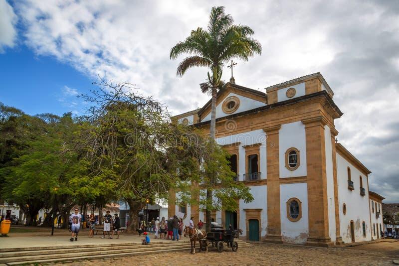 Church in Paraty, Rio de Janeiro royalty free stock photos