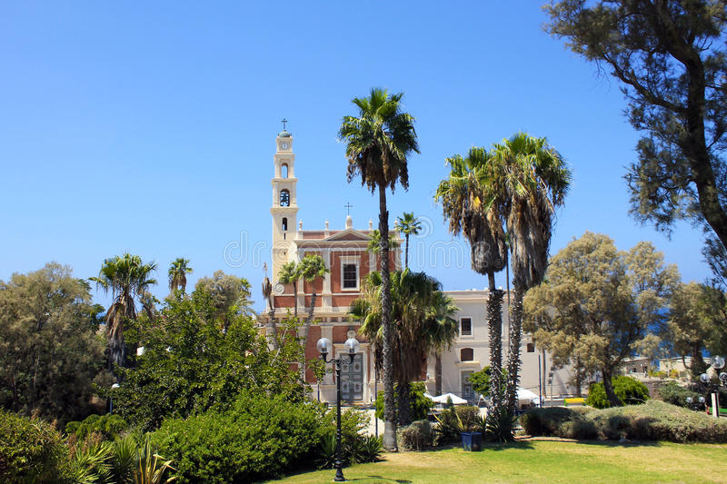 Church in park, Old Town of Jaffa, Tel Aviv, Israel. Church and park in the Old Town of Jaffa, Tel Aviv, Israel stock photography