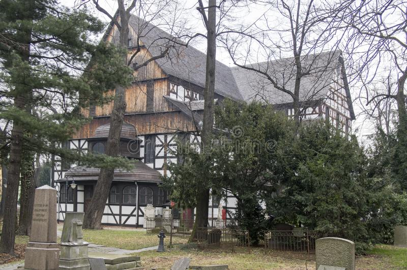 Church of Peace wooden heritage in Swidnica in Poland. Church of Peace, Swidnica / POLAND - March 31, 2018: Old graveyard around the church of Peace in Swidnica stock photo