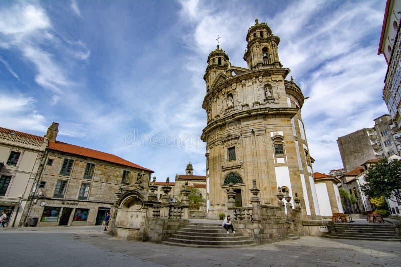 Church of the Peregrina in Pontevedra, Galicia. Pontevedra, Galicia, Spain; September 2018: Facade of the circular church of the Peregrina, in the historic stock photo