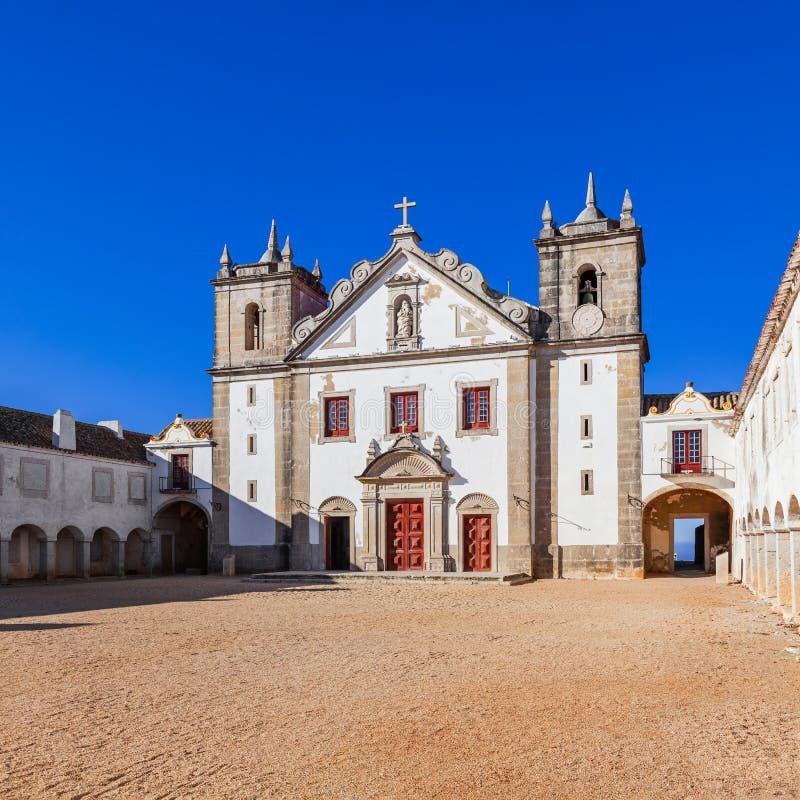 Church and Pilgrim lodgings of Santuario de Nossa Senhora do Cabo Sanctuary. royalty free stock image