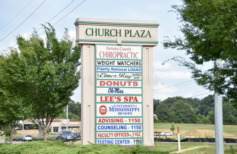 Church Plaza, Horn Lake, Mississippi. Church Plaza are collection of retail stores and businesses in Horn Lake Mississippi, they include a Donuts Shop, Lee`s SPA stock photo