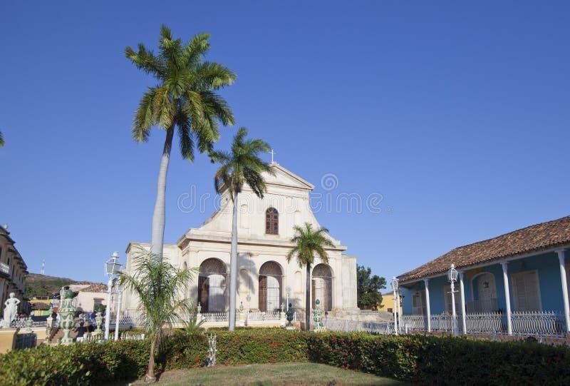 Church on Plaza Mayor in Trinidad, Cuba stock image