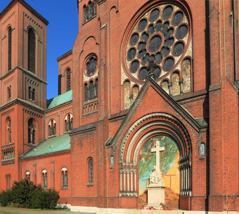 Church in Poland. Czeladz in Silesian voivodeship, Silesia region of Poland. Brick church royalty free stock photography