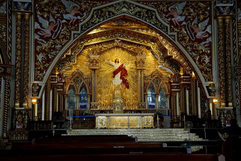Interior of St. George`s Syro Malabar Forane Church, Edapally, Kerala, India. The church, popularly known as Edappally Pally, was a small structure at the time stock images