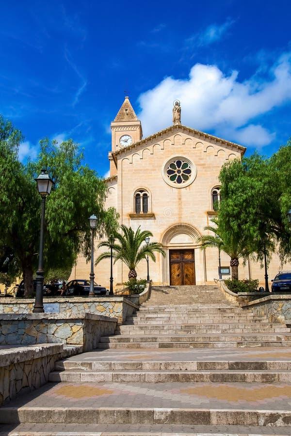 Church in Porto Cristo. Tower of the church Parroquia Nuestra Señora del Carmen in Porto Cristo, Mallorca, Balearic Islands, Spain stock photos