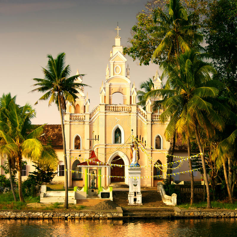 Church. Portugese church in the tropical landscape of the backwaters of Kerala, India stock photos