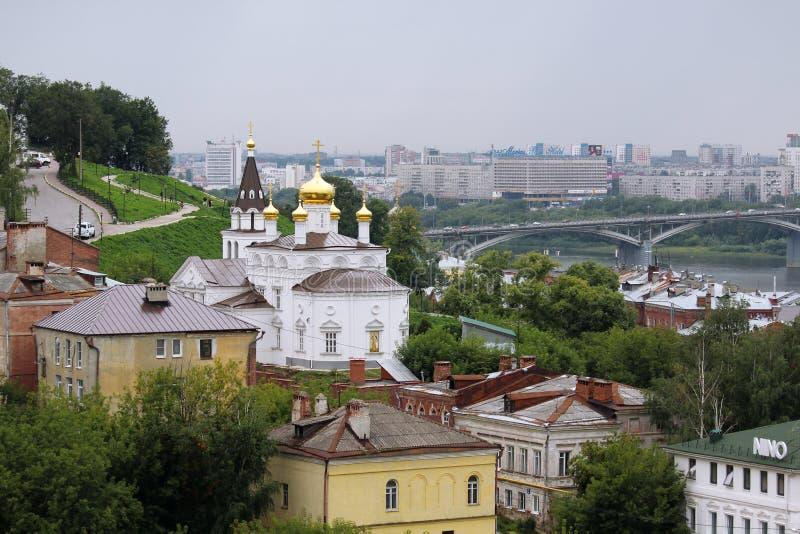 The Church of Prophet Iliya, Nizhny Novgorod. View fron the Kremlin hill on The Church of Prophet Iliya in Nizhny Novgorod royalty free stock photography