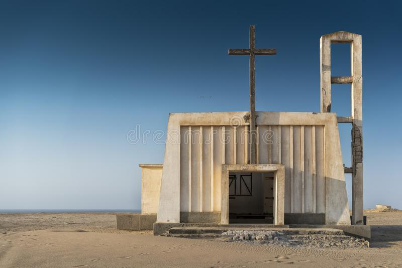Church in the province of Namibe. Angola. Africa, Church of Portuguese colonial time. royalty free stock images