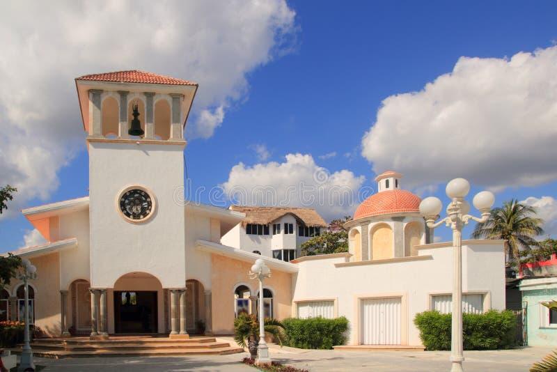 Church Puerto Morelos Mexico Mayan Riviera stock image