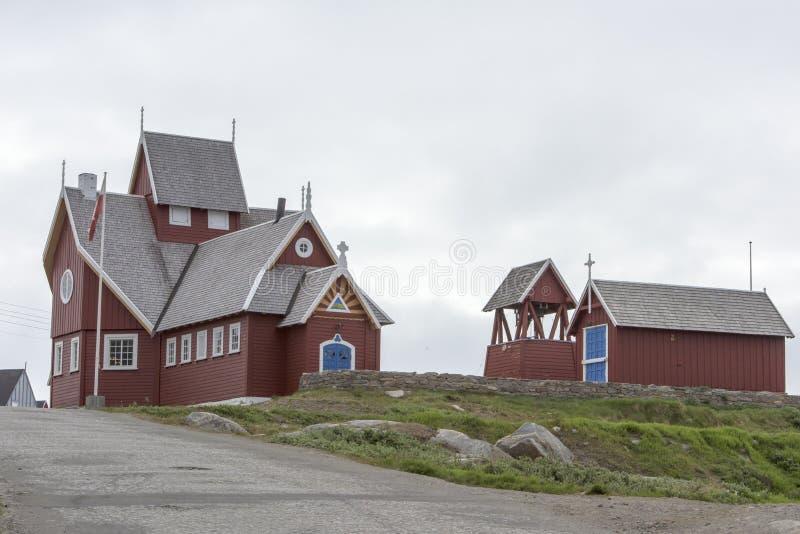 Church Qeqertarsuaq, Greenland. Wooden church in Qeqertarsuaq with bell tower, Greenland stock photos