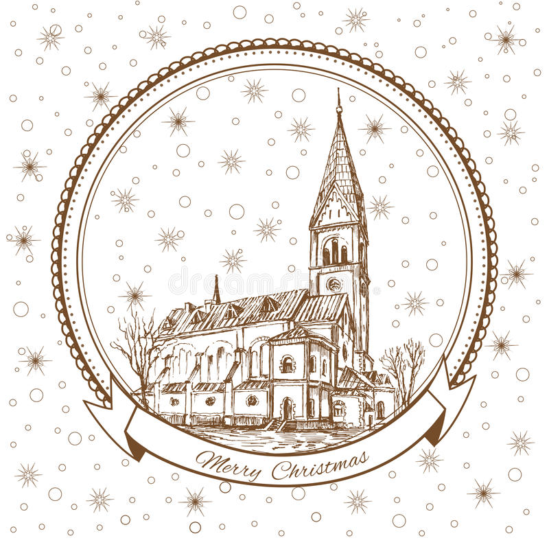 The Church of Queen Luisa, Luizenvahl. Landmark of the Kaliningrad, Russia, Vector Christmas greeting card with symbol. Of the Konigsberg and snowflake vector illustration