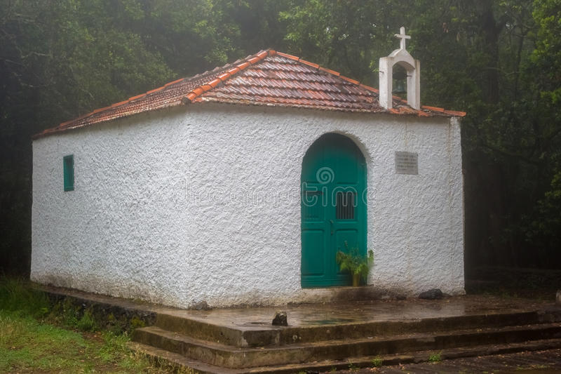 Church in the rainforest. The little church Ermita de Lourdes in the primary rainforests of La Gomera, one of the Canary Islands royalty free stock photography