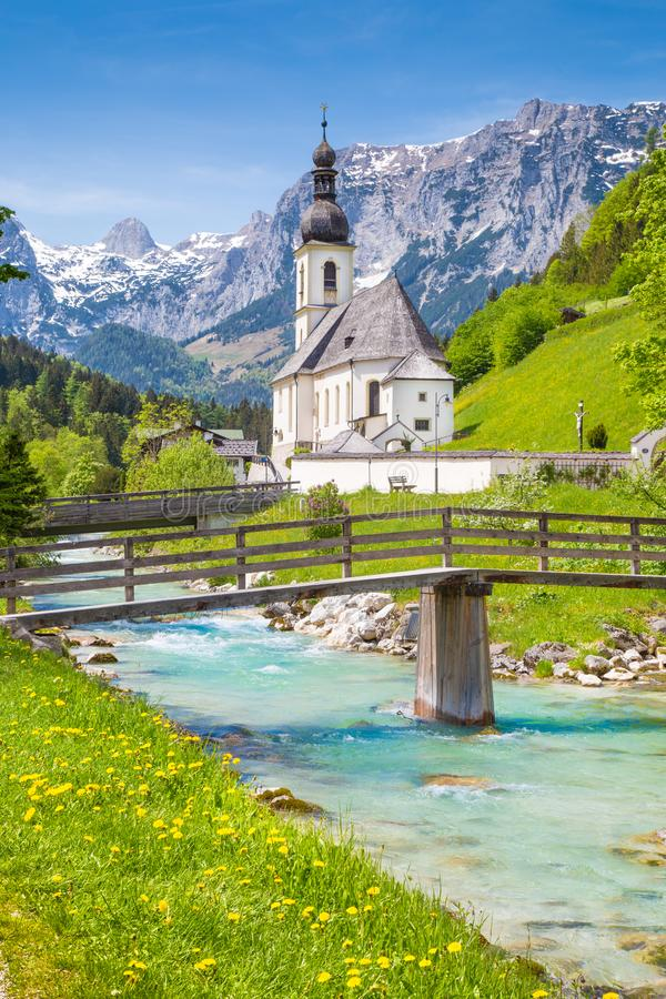 Church of Ramsau, Nationalpark Berchtesgadener Land, Bavaria Ger. Scenic mountain landscape in the Bavarian Alps with famous Parish Church of St. Sebastian in royalty free stock images
