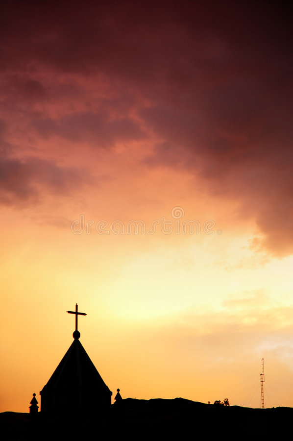 Church and red sky royalty free stock photography