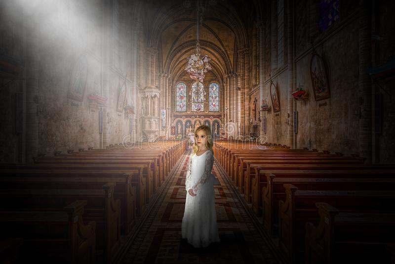 Church, Religion, Christian, Christianity, Religious, Girl royalty free stock image