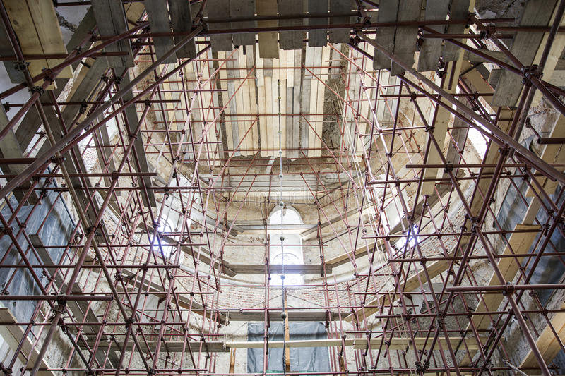 Church renovation site royalty free stock images