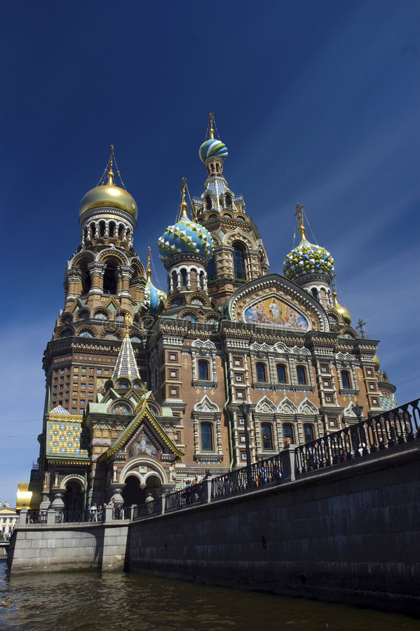 Church of Resurrection on blood St.Petersburg stock photo