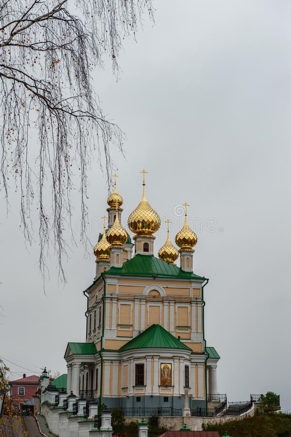 Church of the Resurrection of the city of ples of the old Russian city on the Volga in late autumn. The city is associated with. The great Russian artist stock photography