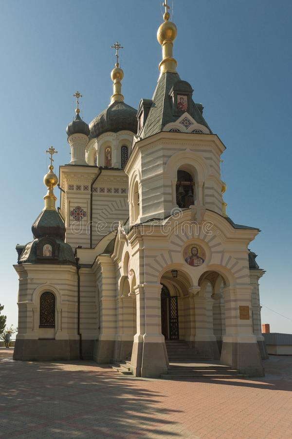 Church of the Resurrection - Orthodox Church of Simferopol and Crimea diocese of the UOC-Moscow Patriarchate over the village of. Foros royalty free stock photo