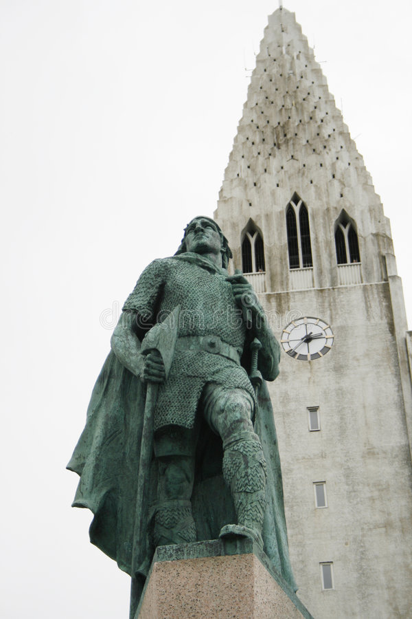 Church reykjavik with statue Leif Eriksson stock photo