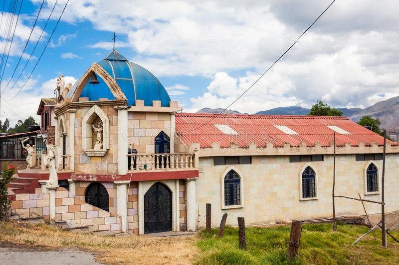 Church on the road between Sogamoso and Corrales on the municipality of Topaga in the departament of Boyaca in Colombia. Beautiful church on the road between stock photo