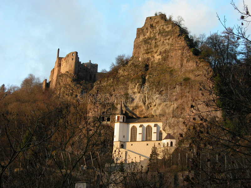 The Church in the Rock and Castle Ruins stock photo