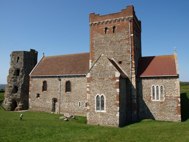 Church and Roman Lighthouse stock photos
