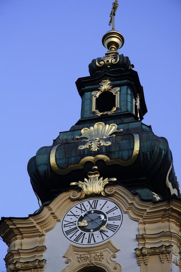 Church roof design. Design of catholic church from Hartberg, Steiermark, Austria stock image