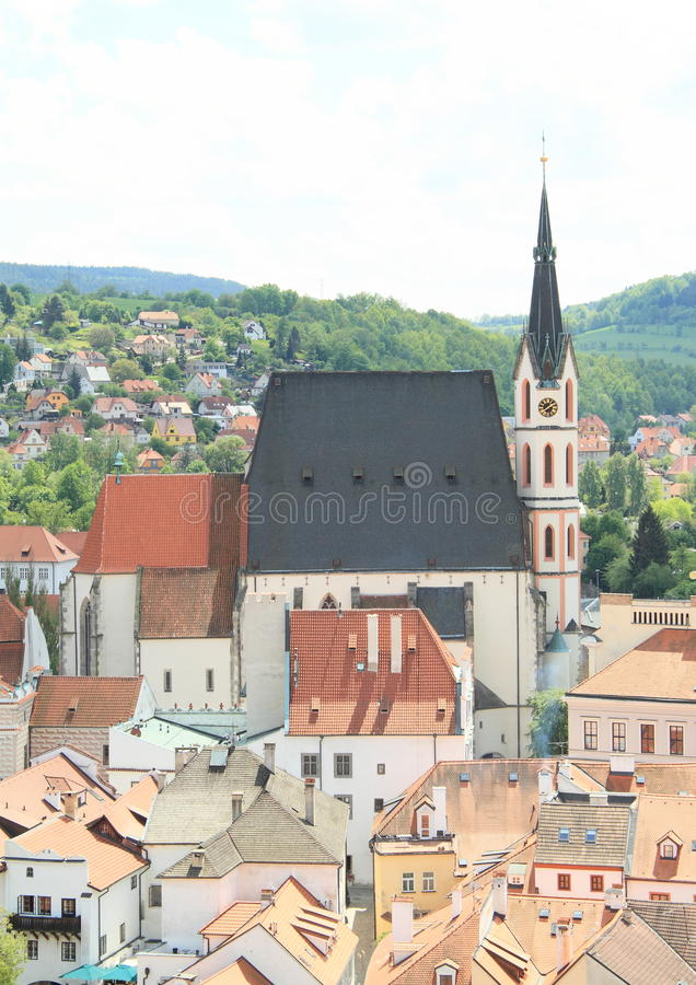 Church and roofs in Cesky Krumlov royalty free stock images