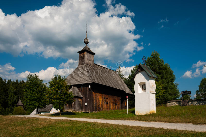 Church from Rudno - Museum of the Slovak Village, Jahodnícke háje, Martin, Slovakia. The large open-air Museum of the Slovak Village is situated on the royalty free stock photo