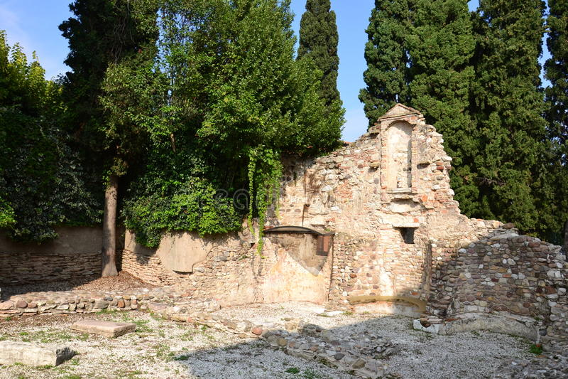 Church ruins. Ruins of the Church of San Salvatore in Sirmione, on Lago di Garda lake in Italy, Europe. It was founded by the Queen Ansa, wife of the Lombard stock photos