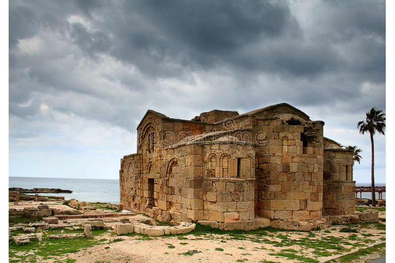 Church Ruins. Ayios Philon, Greek Orthodox Church ruins on Karpassia peninsula, Northern Cyprus royalty free stock images